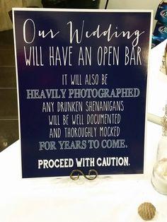 Funny Wedding SIGN Drink Open BAR winter wedding signage cottage chic Chalkboard…