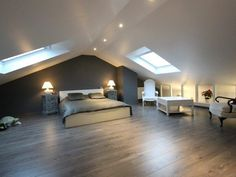 home furnishings ideas Attic Living Rooms, Attic Bedrooms, Attic Spaces, Bedroom Loft, Bedroom Decor, Staircase Lighting Ideas, Attic Master Suite, Dormer Loft Conversion, Attic Bedroom Designs