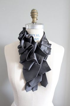 Lapel in Gray Satin Silk Ruffle Necktie Collar by lilianasterfield, $175.00