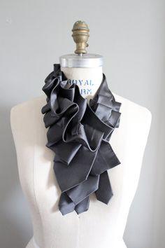 Lapel in Gray Satin Silk Ruffle Necktie Collar by lilianasterfield, $175.00