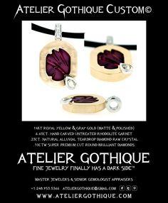 Atelier Gothique Custom© Fine Custom Jewelry Gothic Alternative Fashion Necklace Raw White Diamond Rhodolite Garnet Yellow Gray Gold
