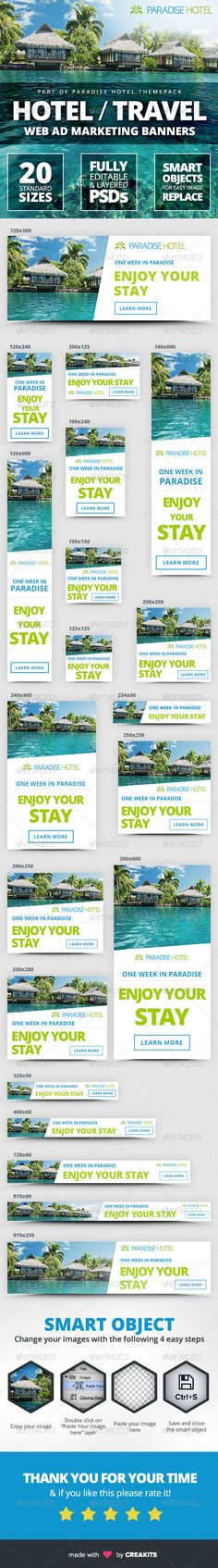 Hotel - Travel Web Ad Marketing Banners Template PSD | Buy and Download: http://graphicriver.net/item/hotel-travel-web-ad-marketing-banners/8315608?WT.ac=category_thumb&WT.z_author=creakits&ref=ksioks