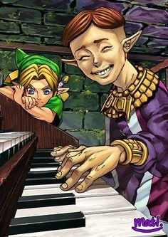 Link & happy mask salesman by The Legend Of Zelda, Legend Of Zelda Memes, Twilight Princess, Video Game Art, Video Games, Majora Mask, Ben Drowned, Hyrule Warriors, Link Zelda