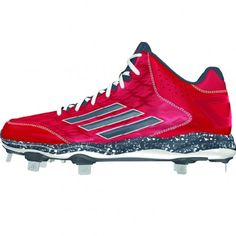 new style ee533 b3f71 Adidas PowerAlley 2 Mid Mens Baseball Cleat D74074 Red-Carbon Met-Onix  Baseball Cleats