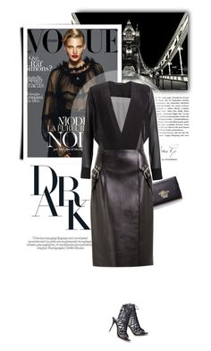 """All Black Everything"" by firstboutique ❤ liked on Polyvore featuring Versace, Ermanno Scervino, Sophia Webster and black"