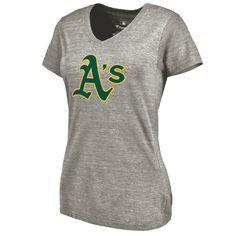 Oakland Athletics Women's Primary Logo Tri-Blend V-Neck T-Shirt - Ash - $39.99