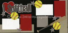 I Love Softball Scrapbook Page Kit