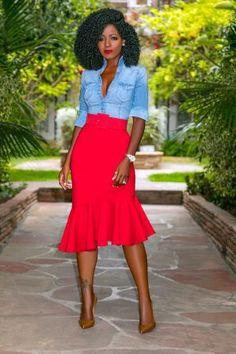 Daily outfits from Folake Kuye Huntoon Midi Skirt Outfit, Skirt Outfits, Dress, Hot Outfits, Classy Outfits, Skirt Fashion, Fashion Outfits, Fashion Advice, Fitted Denim Shirt