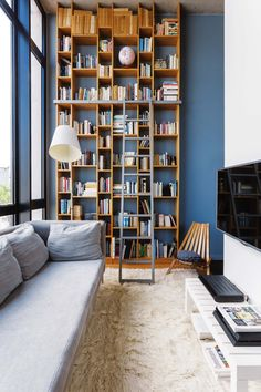 """interior-design-home: """"The choice of blue for a design apartment - PLANETE DECO a homes world """" Living Room Colors, Small Living Rooms, Living Room Designs, Living Spaces, Home Library Design, Home Interior Design, Library Ideas, Floor To Ceiling Bookshelves, Muebles Living"""