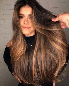 Long Hair Highlights, Brown Hair Balayage, Honey Brown Hair, Hair Color Caramel, Hair Laid, Brunette Hair, New Hair, Hair Inspiration, Curly Hair Styles