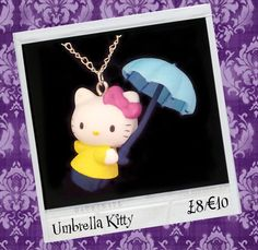 "BROKENDOLL 'UMBRELLA KITTY' NECKLACE. £8.00 Brave the British weather with this iconic Japanese Kawaii character 'Hello Kitty'. She measures approx 5cm x 4cm and is on a 18"" silver plated chain."