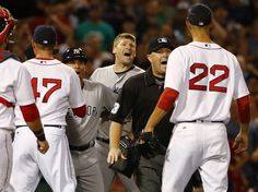 New York Yankees' Chase Headley shouts at Boston Red Sox starting pitcher Rick…