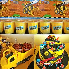 construction themed party #birthday #cake #dirt cups
