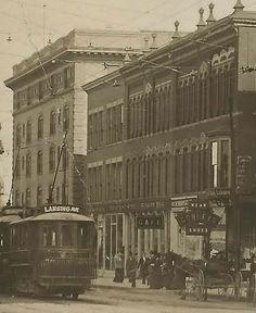 Se Jackson Mi Rppc Great Busy Downtown Street Car Era Historical Look Hotels Cafes Webbs S