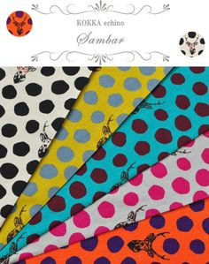 2014 limited edition,10th anniversary collection. Classic Echino motifs of buck and dots in 5 bright colors.  Material : cotton45% linen55%,