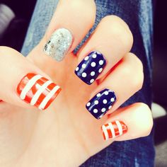 USA Nail Art.... I love my USA nails for the World Cup!!