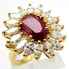 ESTATE NATURAL RUBY & MARQUISE DIAMOND RING SOLID 18K GOLD    OMG THIS IS THE MOST BEAUTIFUL RING EVER ~rowana
