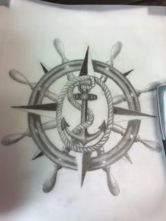 Anchor with a compass design.