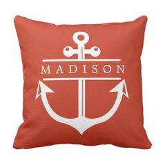 Nautical Name Anchor Throw Pillow - decor gifts diy home & living cyo giftidea Custom Pillows, Decorative Pillows, Nautical Bedding Sets, Nautical Names, Throw Pillows, Anchor, Gifts, Design, Diy