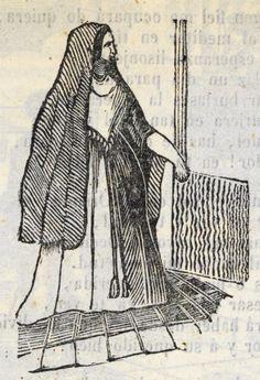 Xilografía en cabecera del segundo título de una mujer de pie con un velo oscuro.
