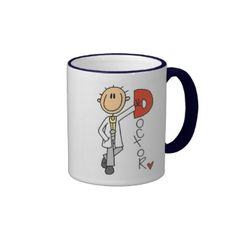 """D is for Doctor T-shirts, tote bags, mugs, cards, and other cute doctor design items featuring a stick figure doctor and red text that reads """"Doctor"""". You can add a name on the spot! #stick #figures #stick #figure #unioneight #peacockcards #stick #peoplestick #person #doctor #dentist #medical #medical #profession #dentist #gift #doctor #gift #dentist #mug #doctor #mug #doctor #shirt #dentist #shirt #doctor #cards #dentist #cards #healthcare #health #medical #gifts"""