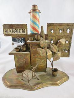 Vintage Metal Barber Shop Art, Metalware Music Box-Barber Shop Display Art