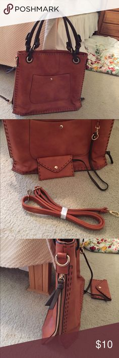 Beautiful brand new brown leather purse This purse is awesome it unzips on both sides for more room, pocket in front, pocket inside also comes with a long shoulder strap never used Bags Shoulder Bags