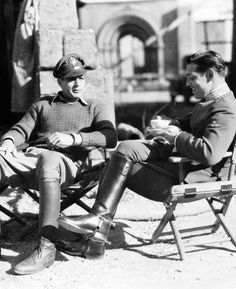 Gary Cooper & Clark Gable taking a break from work, 1933.