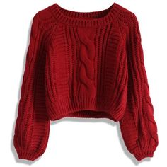 Chicwish Cable Knit Crop Sweater in Wine (150 RON) ❤ liked on Polyvore featuring tops, sweaters, shirts, cropped cable knit sweater, wine red shirt, cable knit sweater, cable sweaters and cable-knit sweater