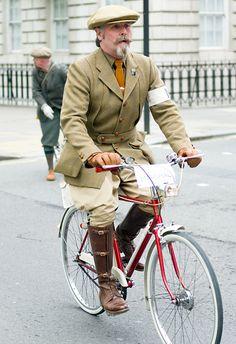 a gentleman taking part in the Tweed Run