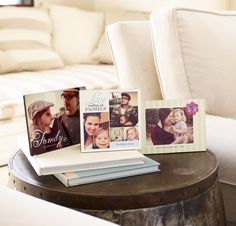 Mismatch desktop plaques with your favorite photos to make a great addition to side tables, from Shutterfly.com