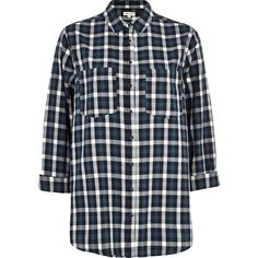 River Island Dark green tartan oversized shirt (240 ARS) ❤ liked on Polyvore featuring tops, shirts, blouses, river island, sale, plaid shirt, shirt top, plaid top and snap button shirts