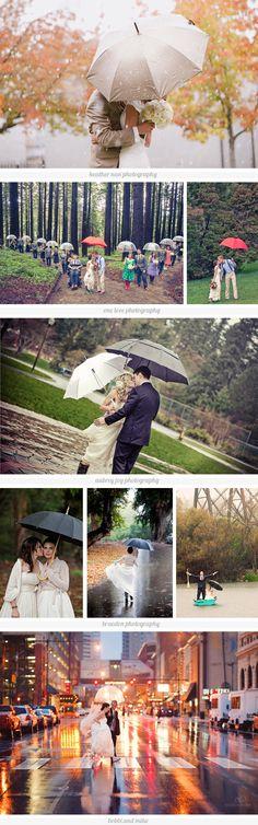Liebe Bräute, diese Paare zeigen es: Auch bei Regenwetter fällt die Hochzeitsfeier nicht ins Wasser.