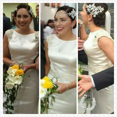 Bridal headpiece grey & yellow bicycle wedding