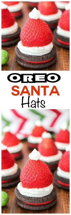 Santa Hats Looking for treats for santa? These oreo santa hats are easy and fun for the kids to make this holiday season!Looking for treats for santa? These oreo santa hats are easy and fun for the kids to make this holiday season! Christmas Deserts, Holiday Snacks, Christmas Appetizers, Noel Christmas, Holiday Cookies, Holiday Recipes, Christmas Candy, Christmas Ideas, Recipes Dinner