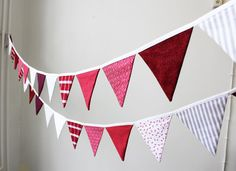 Red and White bunting banner Christmas Flags Garland by BoHelina Christmas Decoration Christmas ornament
