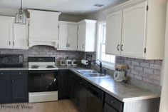 DIY Kitchen Makeover - See how I brightened up my basic, builder grade kitchen with paint, some trim, and concrete! Grey Kitchen Cupboards, Painting Kitchen Cabinets, Kitchen Backsplash, Black Cabinets, Painting Formica, Rustic Backsplash, Kitchen Walls, Kitchen Counters, Upper Cabinets