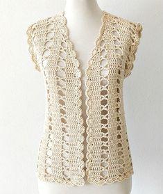 Cómo tejer chaleco crochet fácil - Handwork Diy Gilet Crochet, Crochet Cardigan Pattern, Crochet Jacket, Crochet Blouse, Crochet Poncho, Crochet Shrugs, Crochet Sweaters, Easy Crochet, Free Crochet