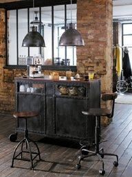galvanized and industrial look coffee bar