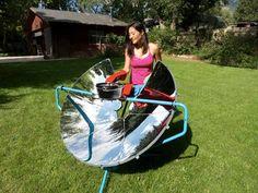 Churrasqueira assa alimentos com energia solar