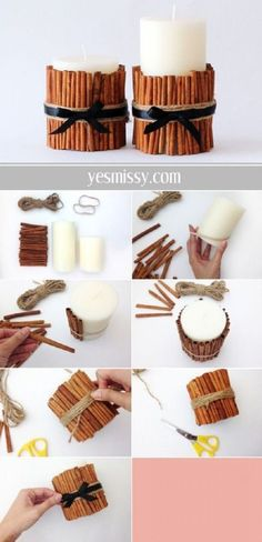 DIY decorative candle tutorial will have your home smelling like the holidays DIY Cinnamon Vanilla Candles - 15 Best DIY Ideas to Winterize Your Home for Christmas Noel Christmas, Diy Christmas Gifts, Christmas Decorations, Christmas Hair, Halloween Decorations, Christmas Wrapping, Home For Christmas, Christmas Christmas, Birthday Decorations