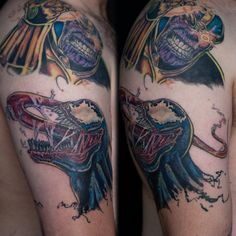 Venom and Thanos. Marvel Villains tattoo by Yanick Sasseville Mile End Tattoos Montreal http://sassevilletattoo.com/