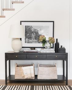 Black Console Table Art Work Console Table Styling Entry Way Console Dining Room Console, Console Table Styling, Hallway Console Table, Console Furniture, Target Furniture, Modern Console Tables, Home Interior, Interior Design, Design Interiors