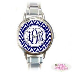 Monogrammed Womens Stainless Steel Watches - The Pink Monogram