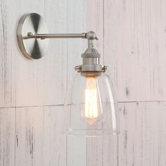df912d2cb24 Permo Industrial Style Clear Glass Wall Lamp Antique Brass Vintage Sconce  Light