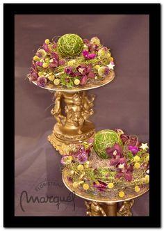 centros de mesa para una navidad barroca , realizados por floristeriamarques.com