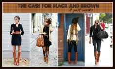 COGNAC + Black = LOVE FOREVER This blog post makes the case for why wearing black and brown together is AWESOME! Click to see lots of COGNAC options to add to your closet.