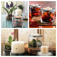 Versatile piece has endless uses! Fill the clear glass vessel with decorations of your choice and top with the textured metal lid that holds three tealights or a 3-wick pillar. $25 www.partylite.biz/tenatilk