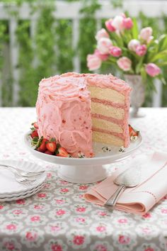 Pretty in pink, this mousse cake recipe is perfect for a shower, family get-together or party. Recipe: Strawberry Mousse Cake