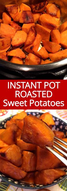 Roasted sweet potatoes are 3 times as fast to make in the Instant Pot then in the oven! I love these Instant Pot roasted sweet potatoes! So easy and yummy!